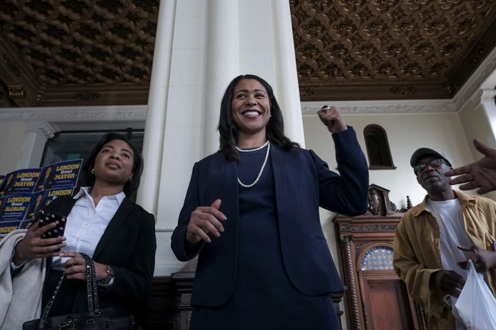 London Breed, a candidate for San Francisco mayor, speaks to supporters at her campaign headquarters on March 8.