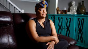 """NEWBURG, OR – June 3rd, 2018: At her home in Newberg, OR Tai Harden-Moore poses for a portrait. While pregnant in 2007 Tai suffered from a placenta abruption and very well have bled to death if one nurse hadn't listened to her -- after several healthcare practitioners declined to run tests.  Her daughter, Leia Moore, is now 11 years old and is named after the nurse that she befriended and who listened to her concerns that, """"Something isn't right.""""  Photos by Leah Nash for HuffPost."""