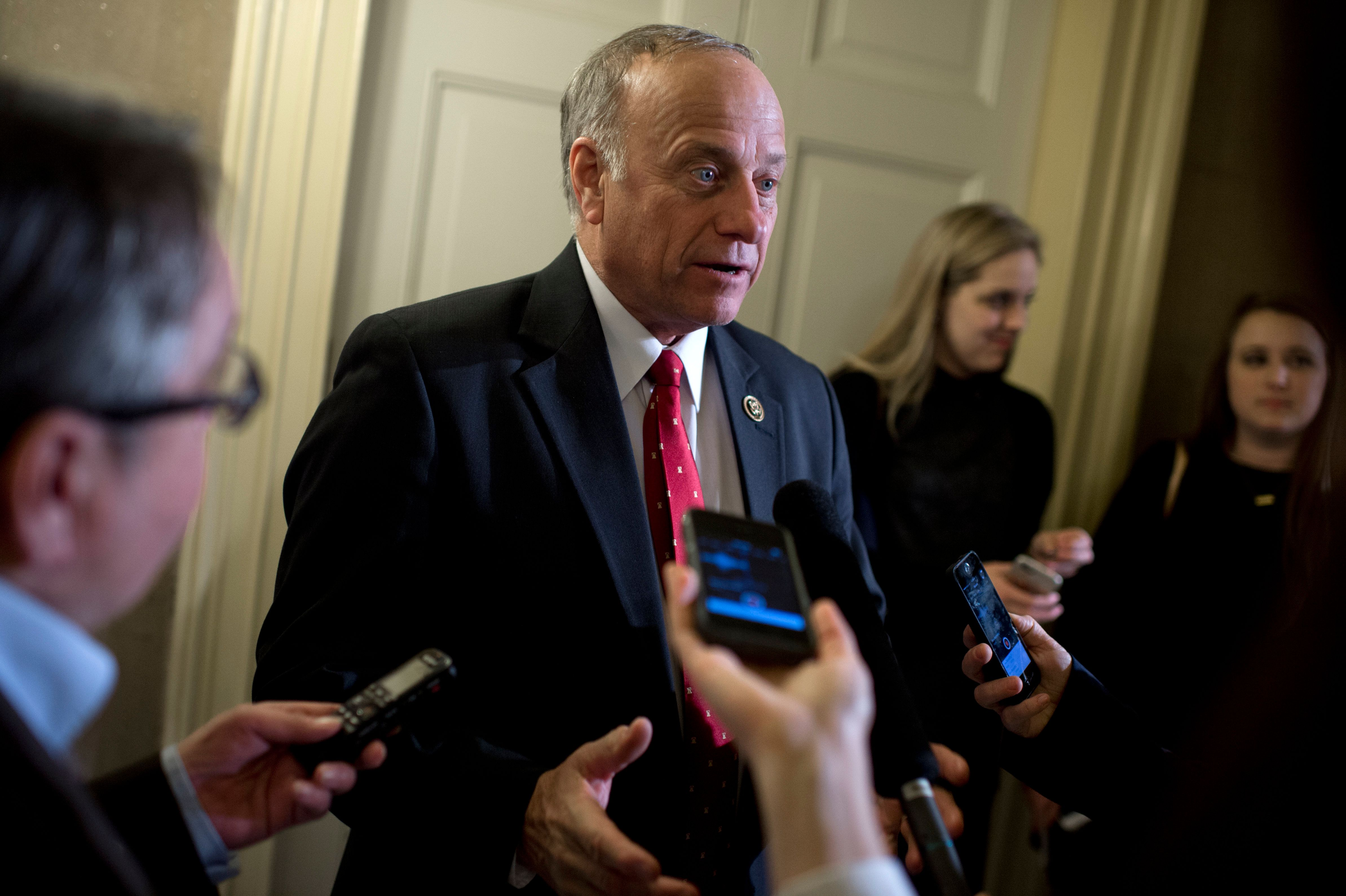 UNITED STATES - JANUARY 12: Rep. Steve King, R-Iowa, talks with reporters in the Capitol's Statuary Hall after President Obama's State of the Union address, January 12, 2016. (Photo By Tom Williams/CQ Roll Call)