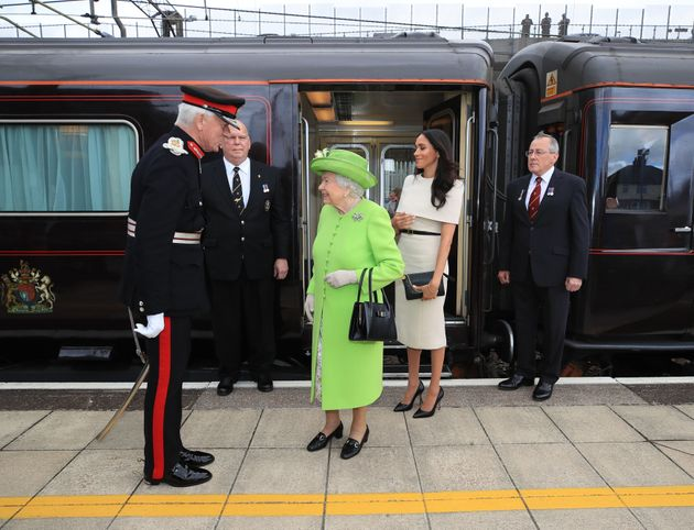 Queen Elizabeth II and the Duchess of Sussex arrive by Royal Train at Runcorn Station to carry out engagements in Cheshire.