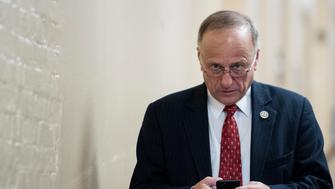UNITED STATES - MARCH 24: Rep. Steve King, R-Iowa, arrives for a hastily called House Republican caucus meeting after Speaker Ryan canceled the vote on the American Health Care Act of 2017 on Friday, March 24, 2017. (Photo By Bill Clark/CQ Roll Call)