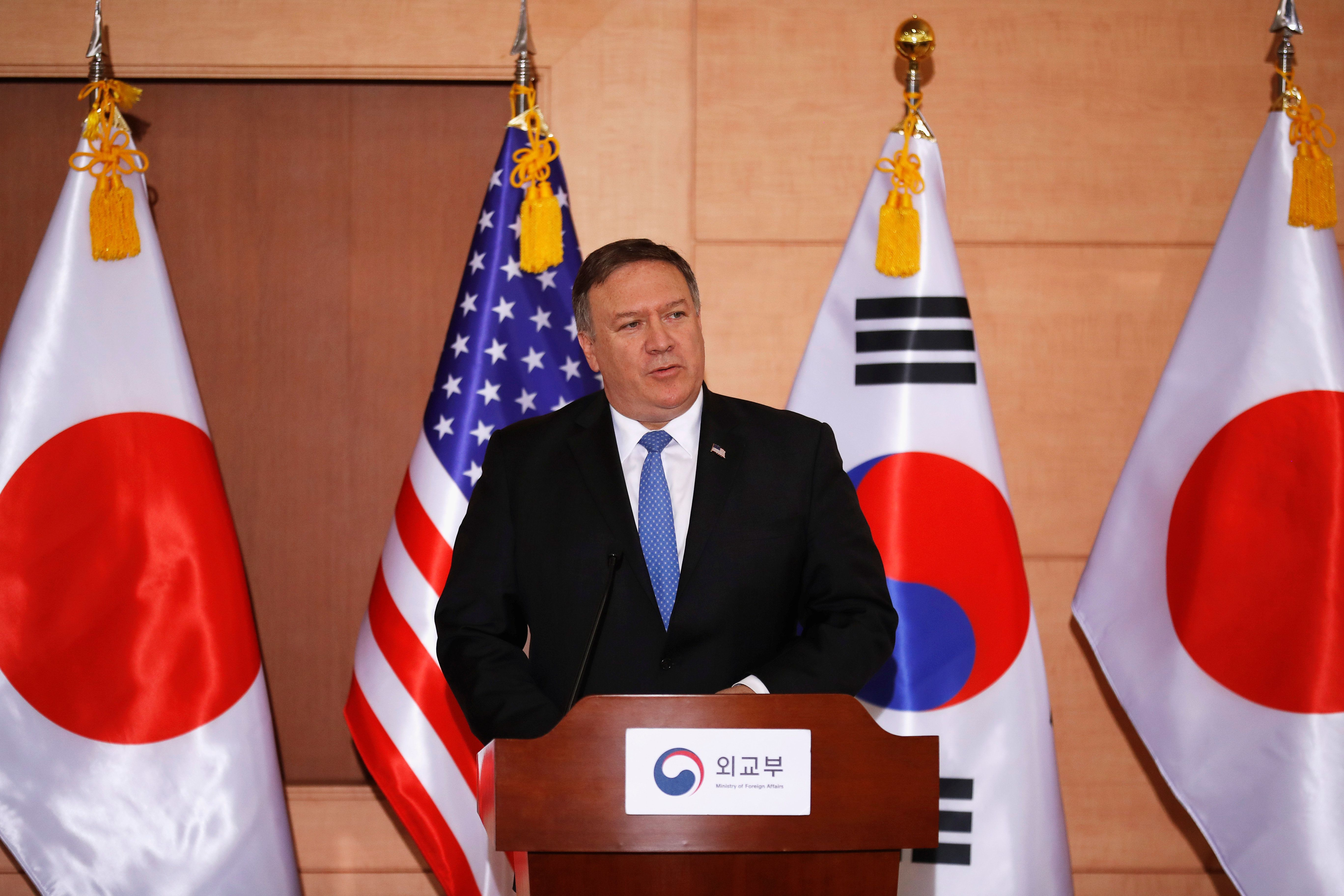 U.S. Secretary of State Mike Pompeo addresses a news conference alongside South Korean Foreign Minister Kang Kyung-wha and Japan's Foreign Minister Taro Kono at the Foreign Ministry in Seoul, South Korea June 14, 2018. REUTERS/Kim Hong-ji/Pool
