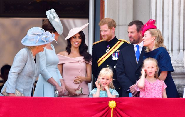 The royal family stand on the balcony of Buckingham Palace during the Trooping the Colour parade on June