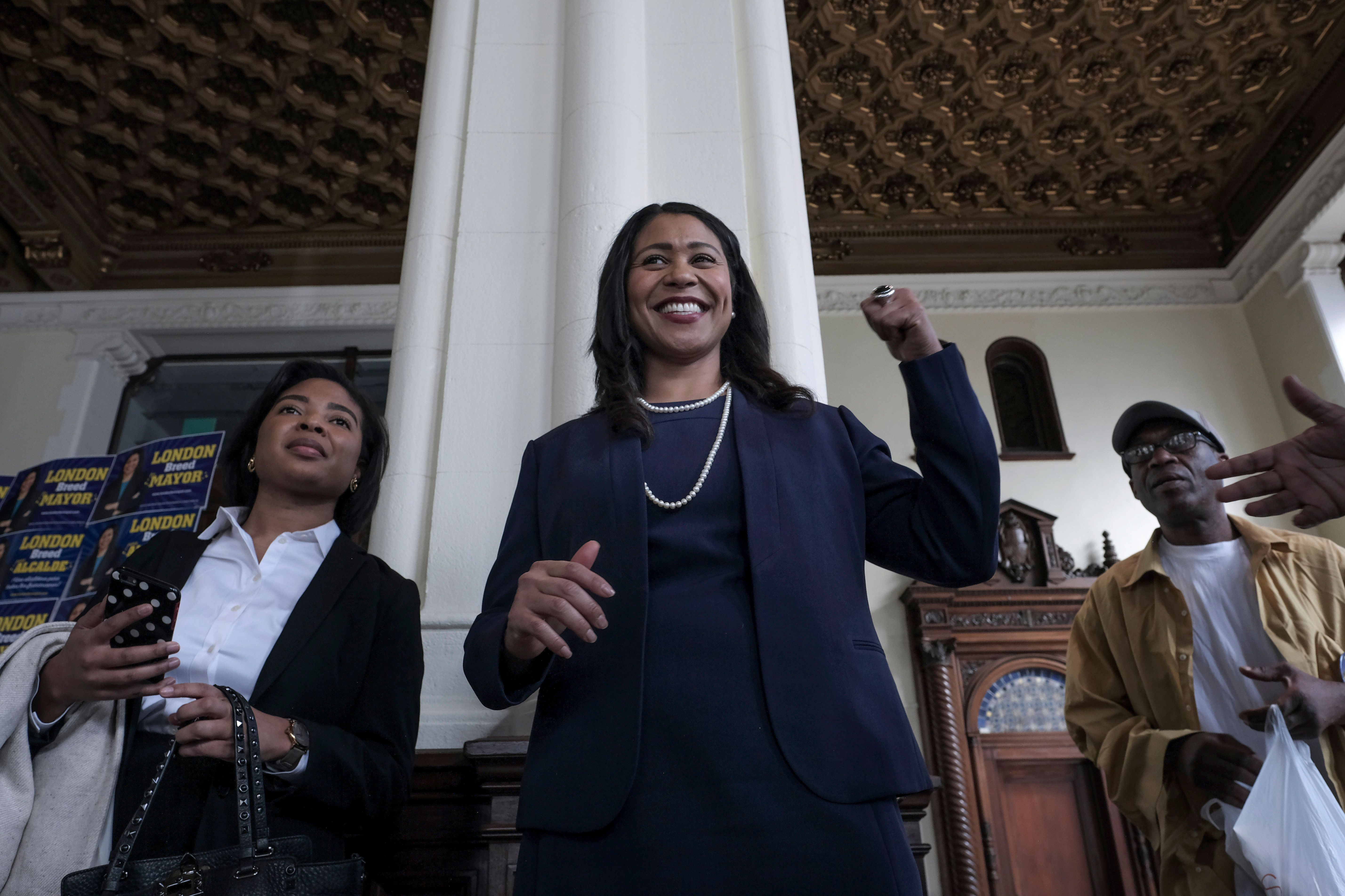 London Breed (center) won a tight June 5 electionand will beSan Francisco's first black female mayor.