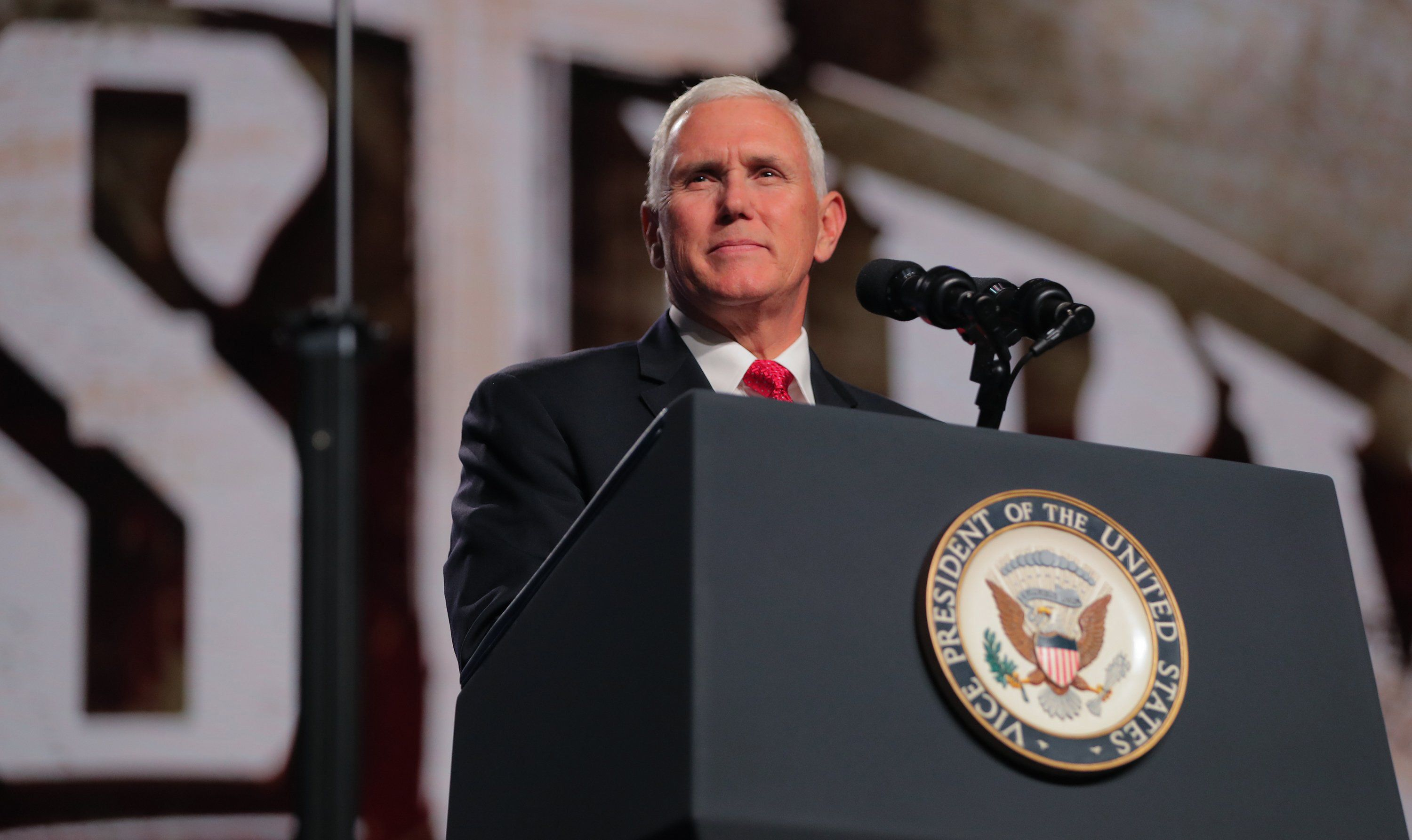 Vice President Mike Pence speaks at the Southern Baptist Convention meeting on Wednesday, June 13, 2018 in Dallas, Texas. (Rodger Mallison/Fort Worth Star-Telegram/TNS via Getty Images)