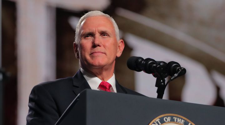 Vice President Mike Pence addresses the Southern Baptist Convention's annual meeting on June 13 in Dallas. He has&