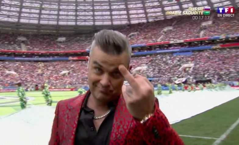 Robbie Williams Flips The Bird During Divisive World Cup Opening Ceremony Performance
