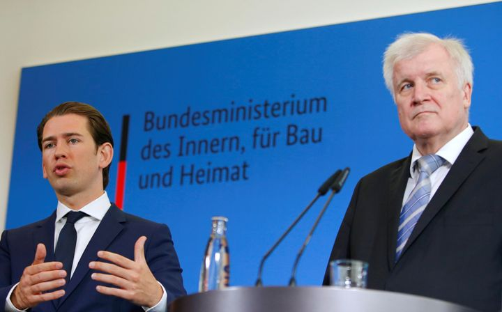 German Interior Minister Horst Seehofer and Austrian Chancellor Sebastian Kurz attend a news conference in Berlin on June 13.