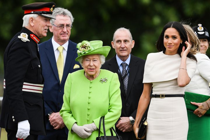 The queen and duchess arrive to open the Mersey Gateway Bridge in Cheshire, England, on June 14.