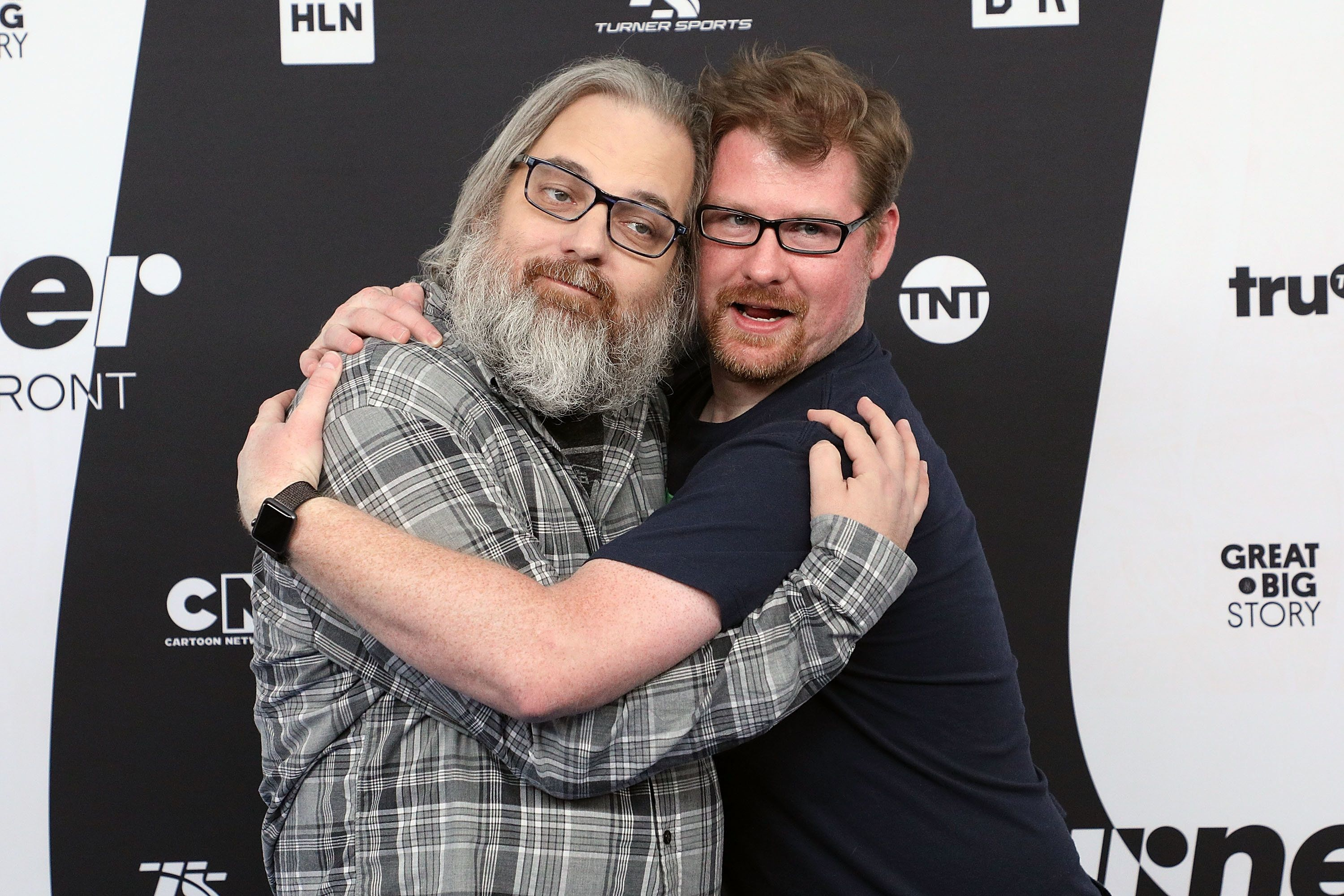 Dan Harmon and Justin Roiland at the 2018 Turner Upfront in New York on May 16.