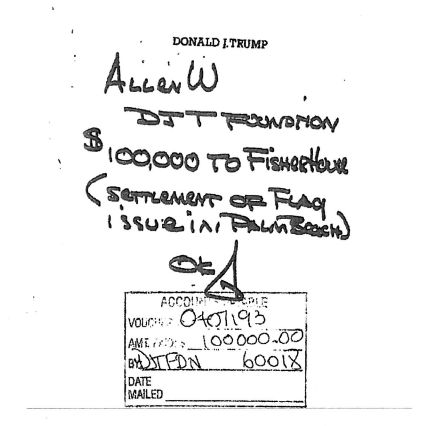 A handwritten note from Donald Trump directed his staff to take $100,000 from his charitable foundation to pay off a set