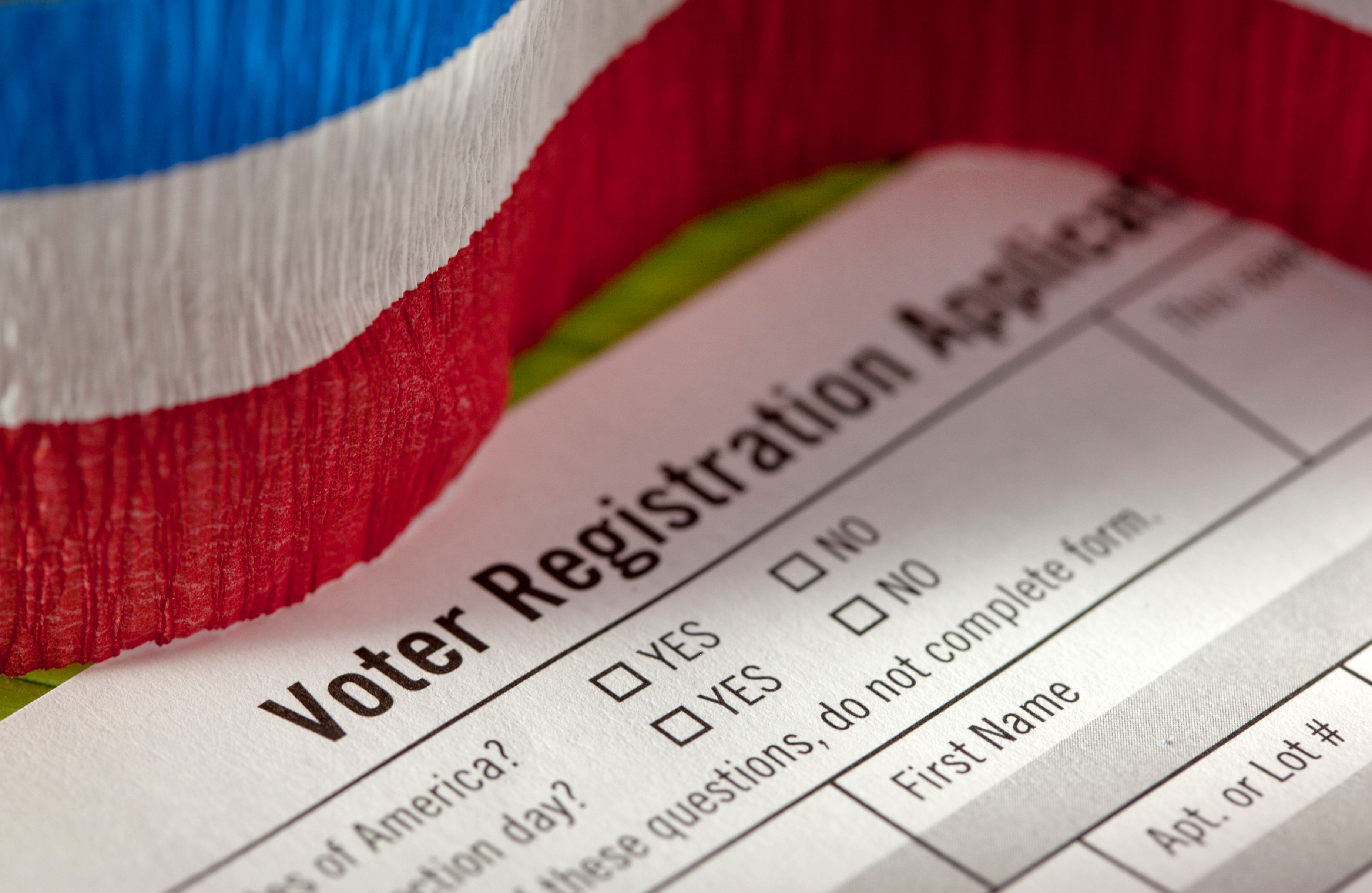 studio shot of voter registration form