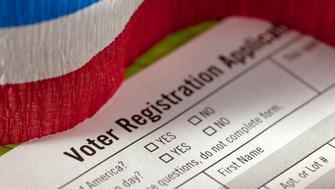 studio shot of voter registration form