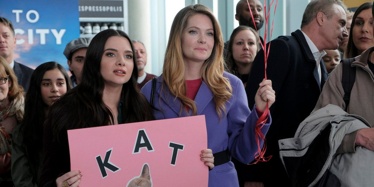 """THE BOLD TYPE - """"Feminist Army"""" - Jane is excited to publish her first big piece for Incite, especially since she's writing about a female CEO she admires, and she knows Jacqueline will be reading it.  Sutton is thrown when a new corporate policy seems to give her and Richard the green light on their romance.  And Adena grows frustrated when Kat seems too eager to flaunt their burgeoning relationship. This episode of """"The Bold Type"""" airs Tuesday, June 12 (8:00 - 9:01 P.M. EDT) on Freeform. (Freeform/Phillippe Bosse)KATIE STEVENS, MEGHANN FAHY"""