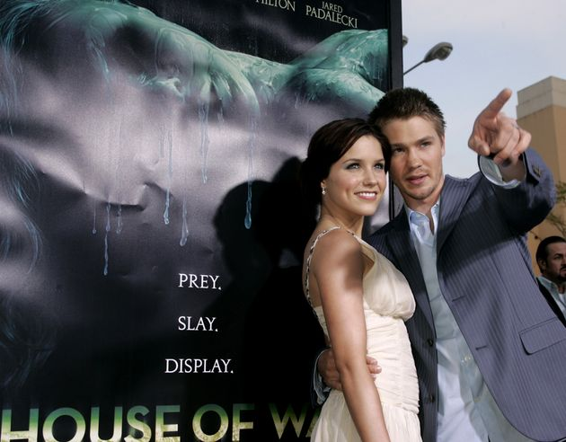 Chad Michael Murray and Sophia Bush pose at the premiere of his new film