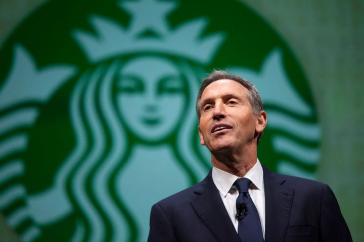 Starbucks CEO Howard Schultz speaks during the company's 2014 shareholders meeting in Seattle.