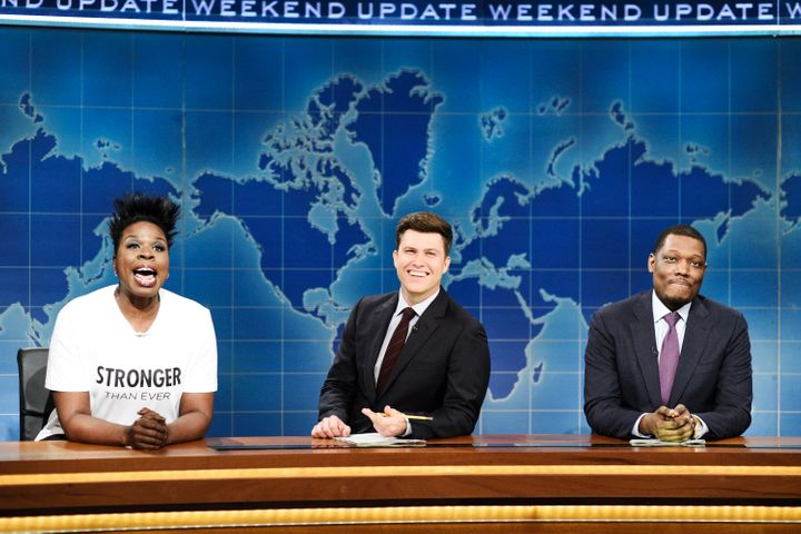 """Leslie Jones, left, joins Colin Jost and Michael Che on the May 5 """"Weekend Update"""" segment of """"Saturday Night Live."""""""