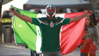 MIAMI, UNITED STATES - FEBRUARY 10:  A Mexican fan poses for a photo prior the international friendly match between Mexico and Senegal at Marlins Park on February 10, 2016 in Miami, United States. (Photo by Omar Vega/LatinContent/Getty Images)