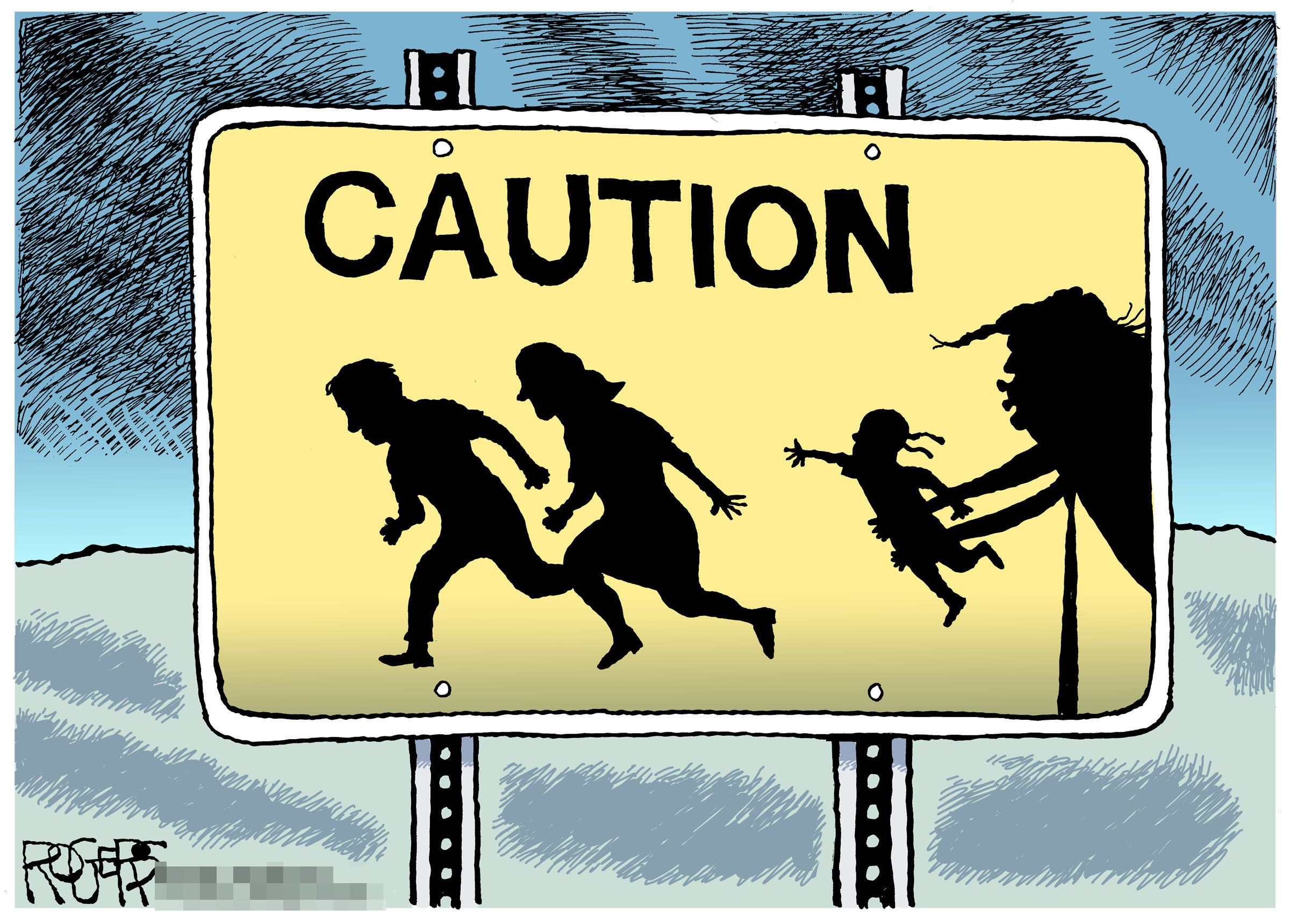 One of Rob Rogers' rejected cartoons, spotlighting Trump's policy separating undocumented immigrant children from their