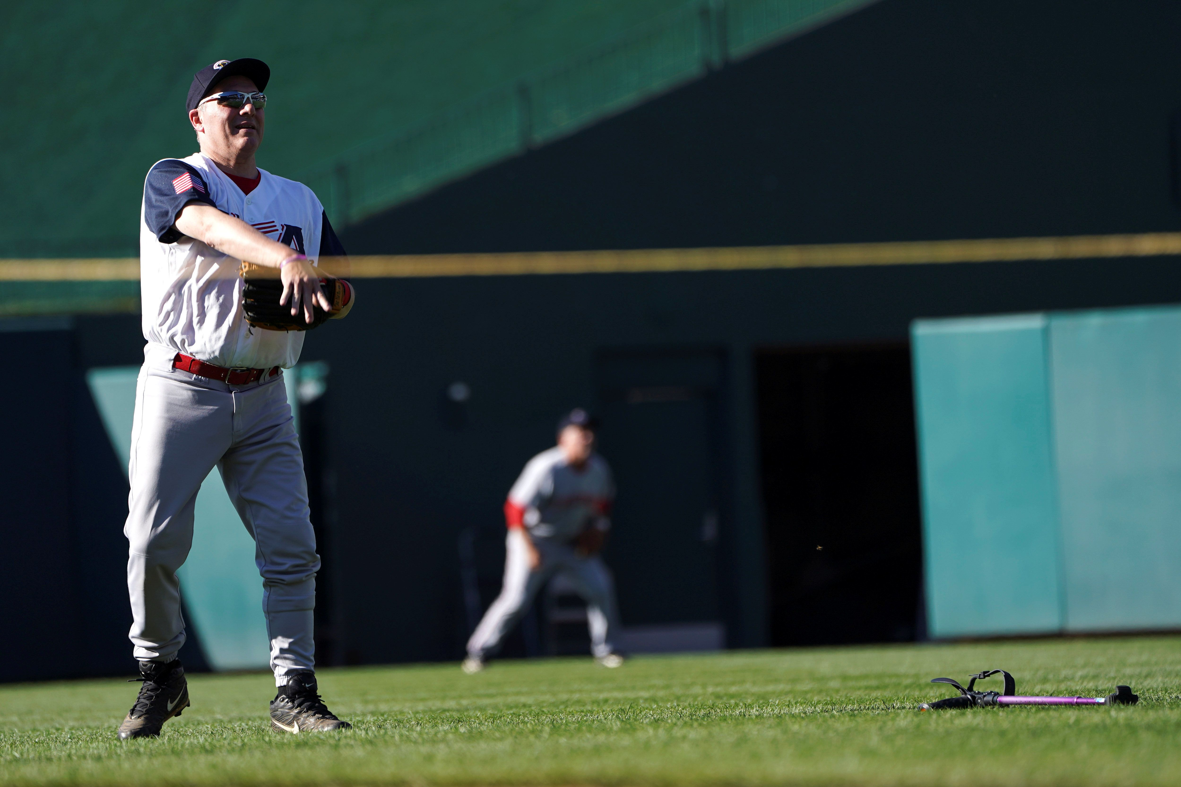 House Majority Whip Steve Scalise (R-LA) warms up as the Democrats and Republicans prepare to face off in the annual Congressional Baseball game at Nationals Park in Washington, U.S., June 14, 2018. REUTERS/Toya Sarno Jordan