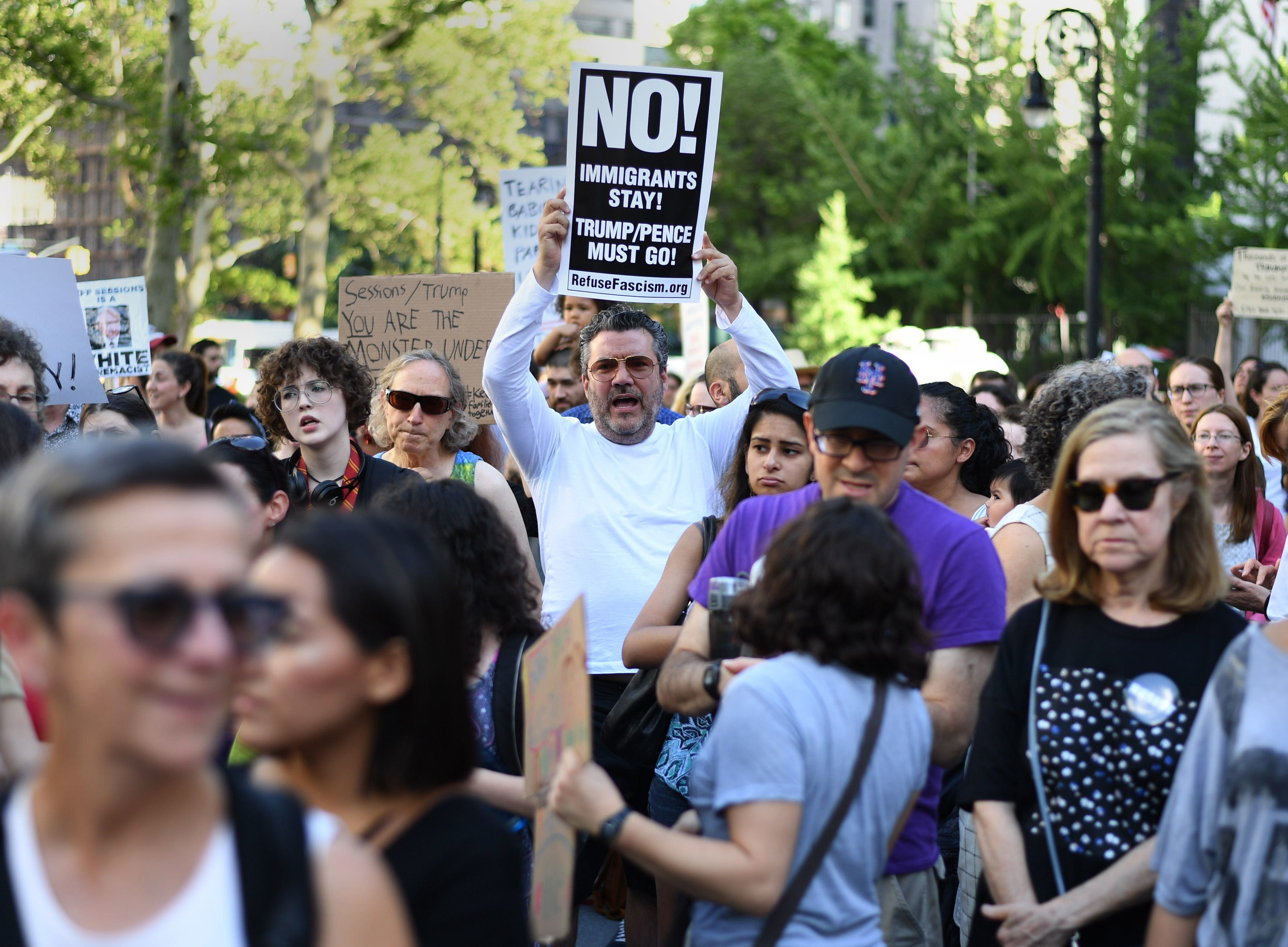 Protesters in New York City demonstrate against the Trump administration's separation of immigrant families.
