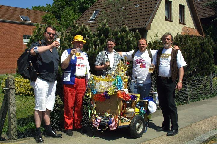 German men with their celebratory wagon on Vatertag.