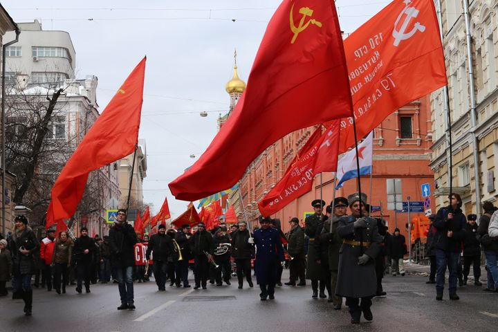 A parade marking Defender of the Fatherland Day in Moscow.