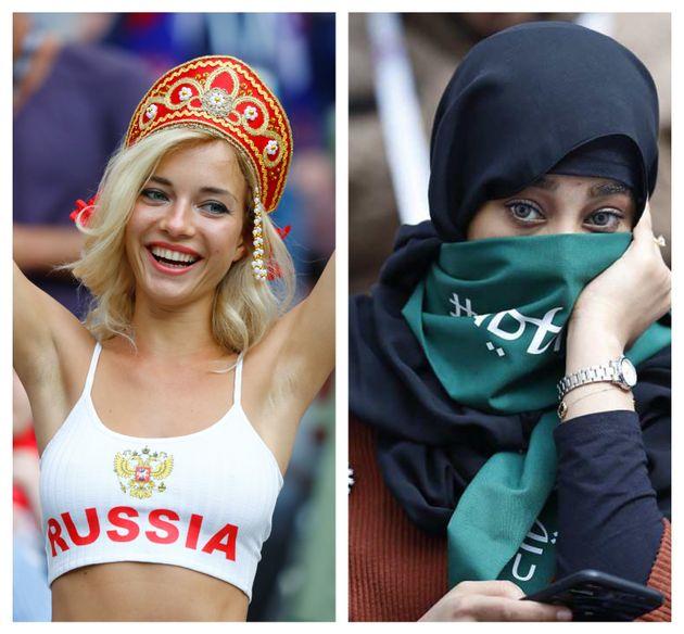 Οι δύο όψεις του Μουντιάλ: από τη μία οι Ρωσίδες και από την άλλη οι γυναίκες της Σαουδικής