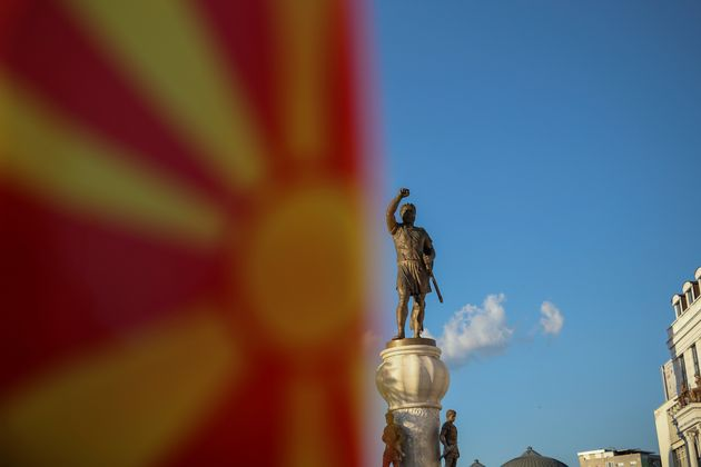A Macedonian flag is pictured in front of the