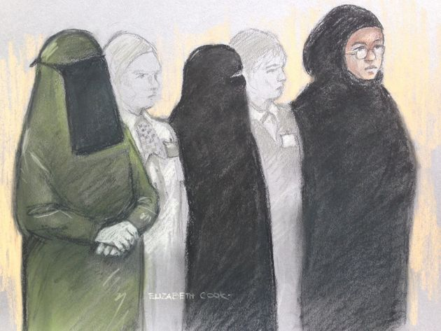 Court artist sketch of (left to right) Mina Dich, 43, Rizlaine Boular, 21, and Khawla Barghouthi,