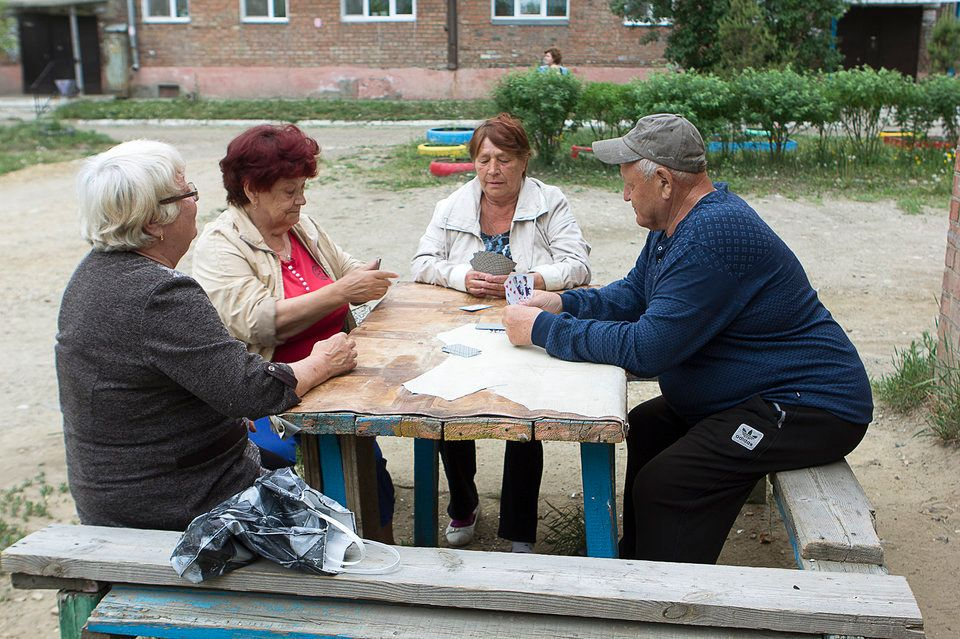 The residents of Meget get together to play