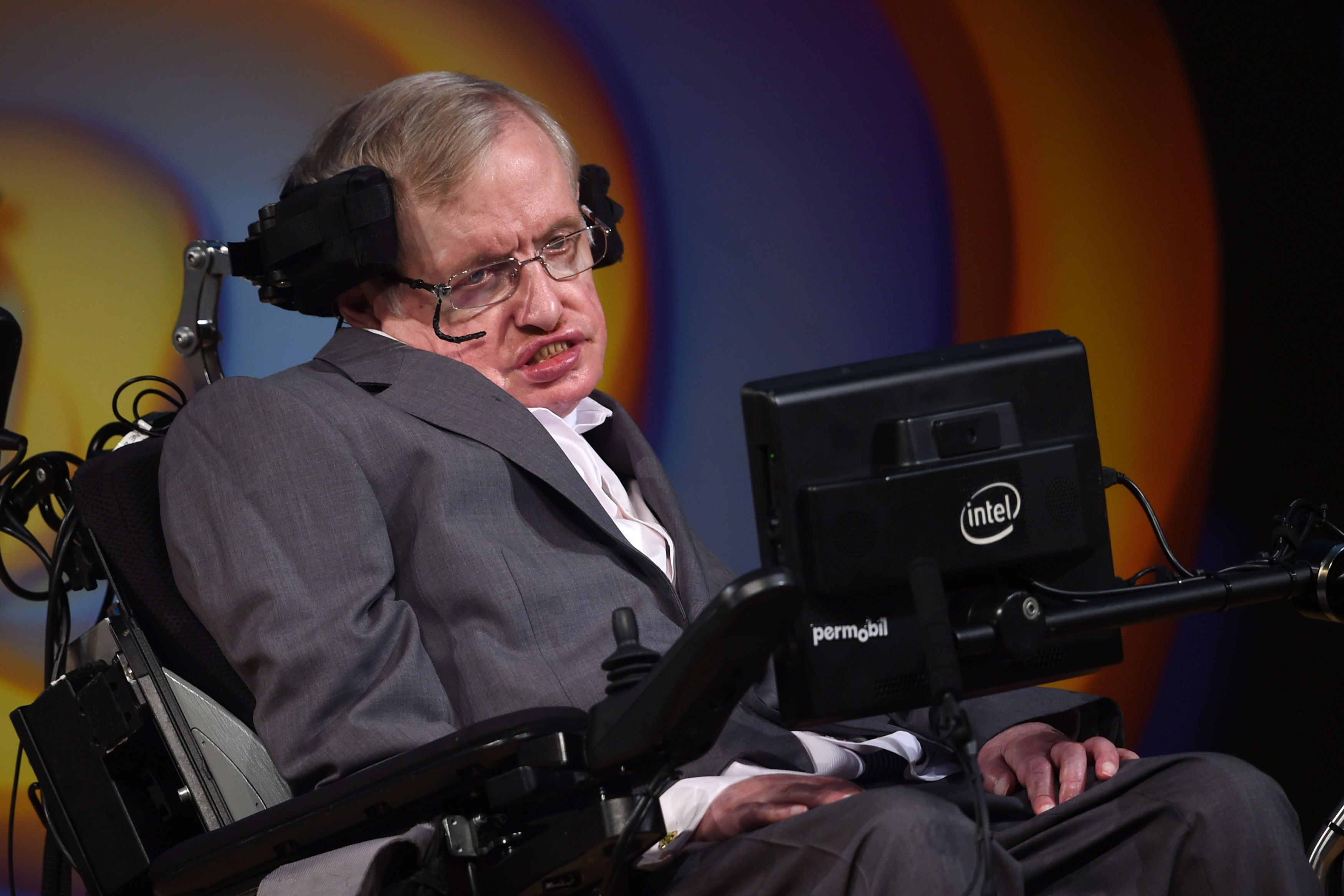 Stephen Hawking talks about his life and work during a public symposium to celebrate his 75th birthday at Lady Mitchell Hall in Cambridge. (Photo by Joe Giddens/PA Images via Getty Images)