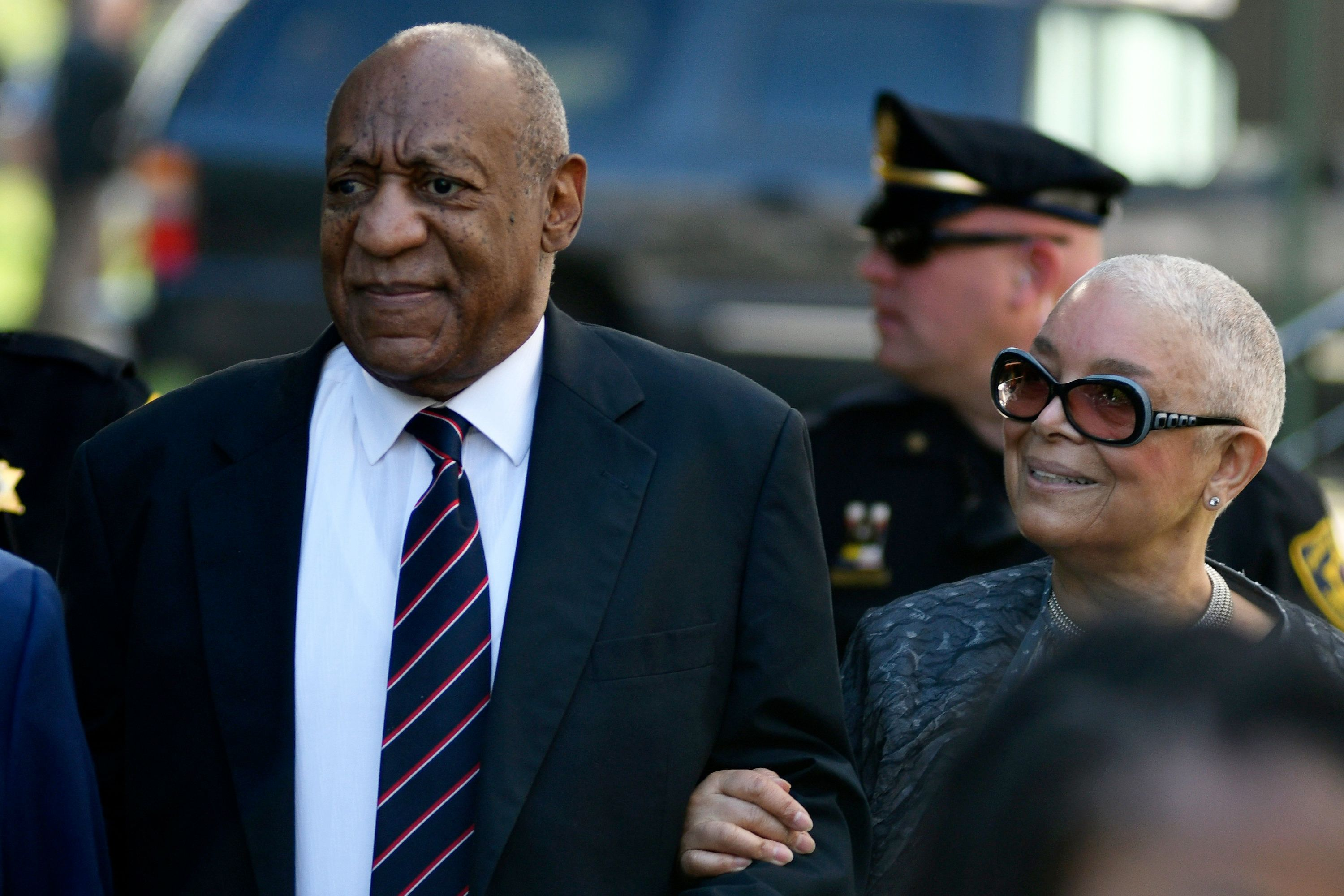 Bill Cosby, with wife Camille Cosby on his side, arrive at Montgomery County Courthouse for the sexual assault trial second week, in Norristown, Pennsylvania, on June 12, 2017. It is the first appearance at this trial for the spouse of the actor/comedian. (Photo by Bastiaan Slabbers/NurPhoto via Getty Images)