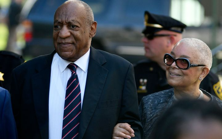 Bill Cosby and wife Camille Cosby arrive at Montgomery County Courthouse on June 12, 2017, during Bill Cosby's first sexual a