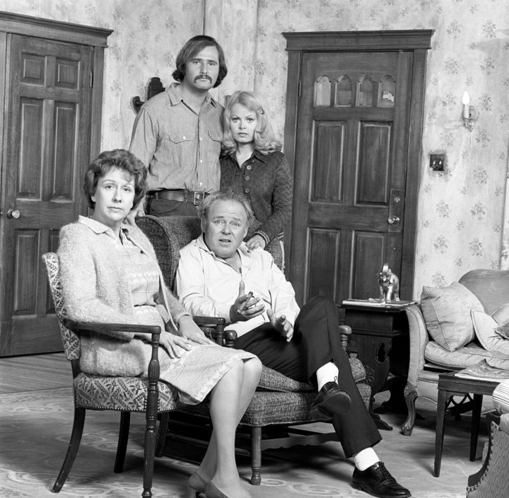 "Jean Stapleton as Edith Bunker, Rob Reiner as Michael ""Meathead"" Stivic and Sally Struthers as Gloria Bunker-Stivic with Carr"