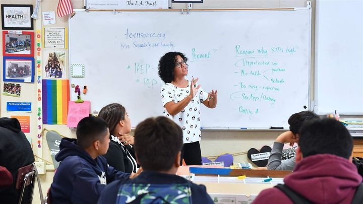 Leticia Jenkins teaches a ninth-grade health class. Two states now require health teachers to address rising rates of adolesc
