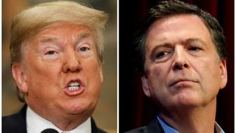 FILE PHOTO: U.S. President Donald Trump and Former FBI director James Comey (R) appear in Washington, DC, U.S., on May 24 and April 30, 2018 respectively.  REUTERS/Kevin Lamarque (L) and Jonathan Ernst/File Photo