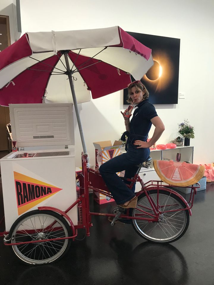 The Ramona cooler bike at the Instagram party in New York City.