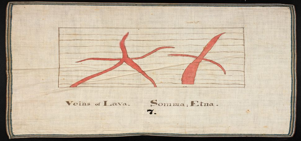 "Orra White Hitchcock's classroom chart titled ""Veins of Lava"" (1830–1840)."