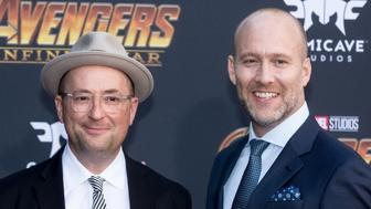 LOS ANGELES, CA - APRIL 23:  Screenwriters Christopher Markus (L) and Stephen McFeely attend the 'Avengers: Infinity War' World Premiere on April 23, 2018 in Los Angeles, California.  (Photo by Greg Doherty/Patrick McMullan via Getty Images)