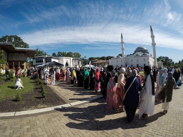 Muslims gather to perform Eid al-Fitr prayers in Lanham, Maryland, on June 15.
