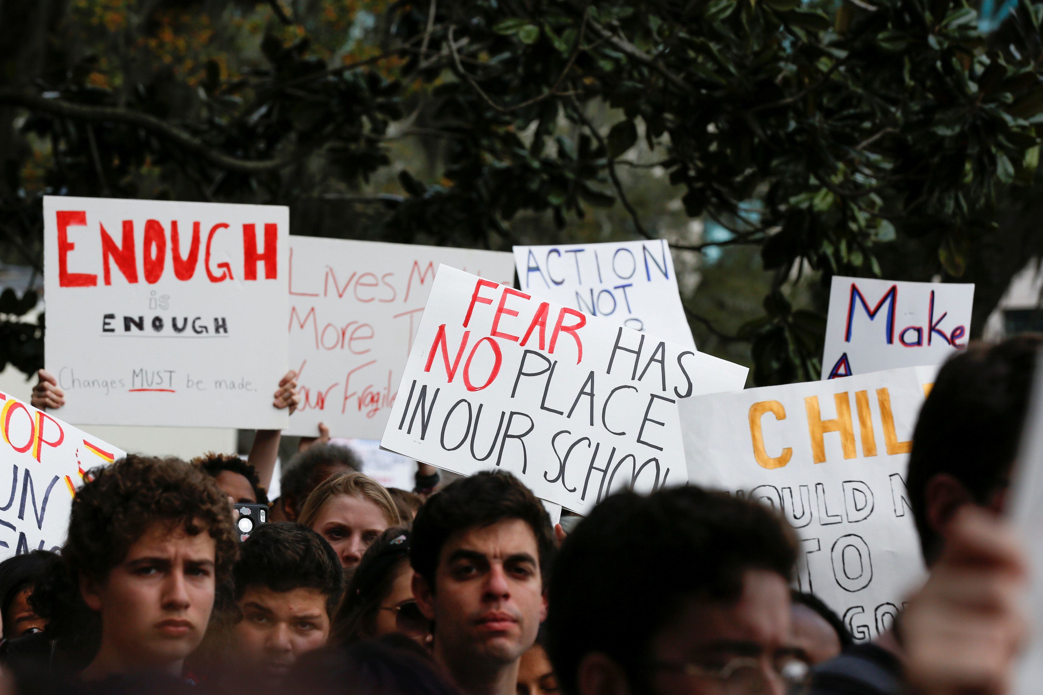 Protestors rally outside the Capitol urging Florida lawmakers to reform gun laws, in the wake of last week's mass shooting at Marjory Stoneman Douglas High School, in Tallahassee, Florida, U.S., February 21, 2018. REUTERS/Colin Hackley