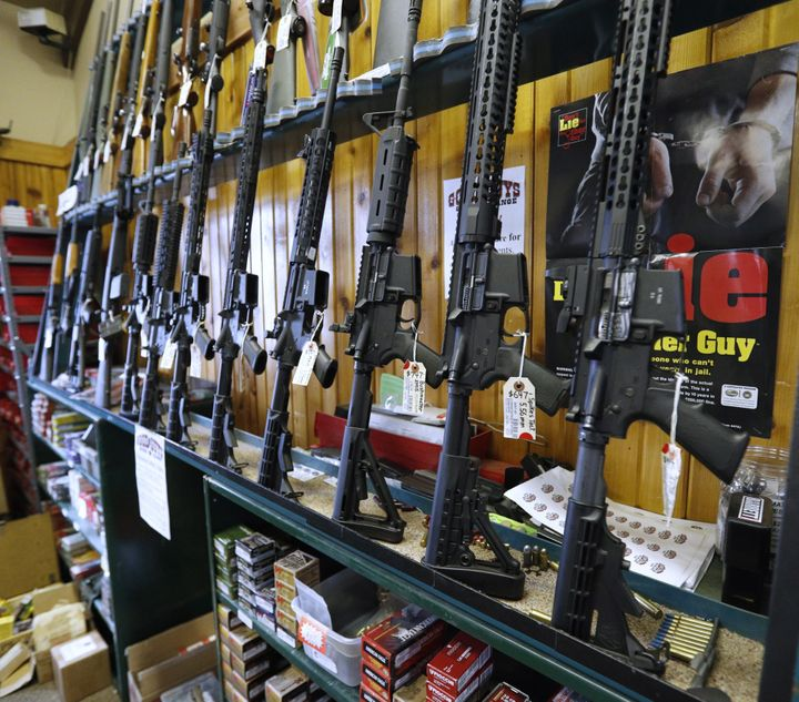 Semi-automatic AR-15 rifles for sale at a Utah gun store. Red flag laws are already being used in states to take guns fr