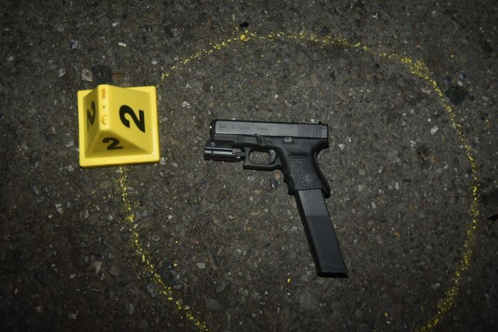 The gun that police say Oliver Barcenas was carrying at the time of the shooting.