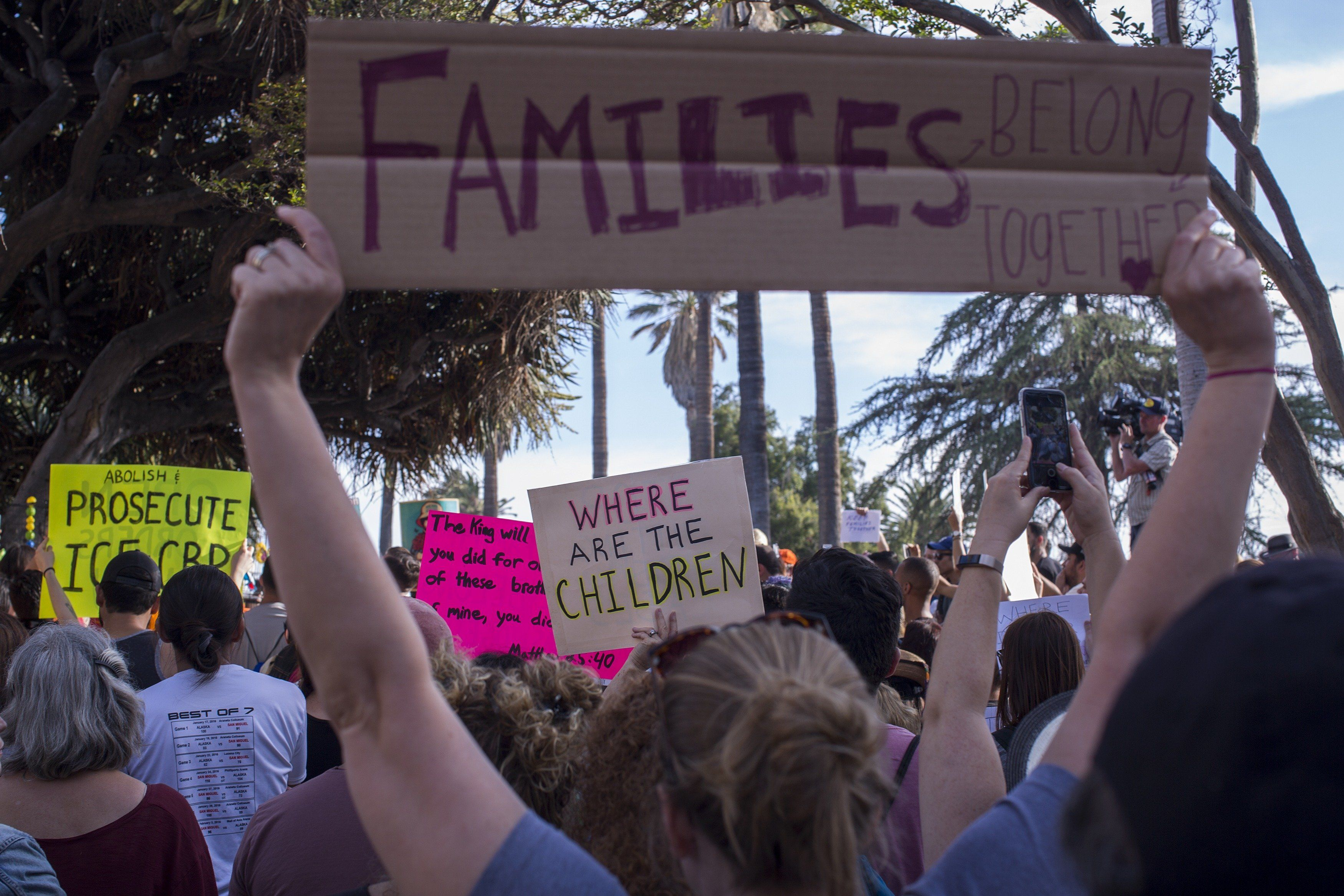 LOS ANGELES, CA - JUNE 14: People protest the Trump administration policy of removing children from parents arrested for illegally crossing the U.S.-Mexico border on June 14, 2018 in Los Angeles, California. Demonstrators marched through the city and culminated the march at a detention center where ICE (U.S.Immigration and Customs Enforcement) detainees are held. U.S. Immigration and Customs Enforcement recently arrested 162 undocumented immigrants during a three-day operation in Los Angeles and surrounding areas.  (Photo by David McNew/Getty Images)