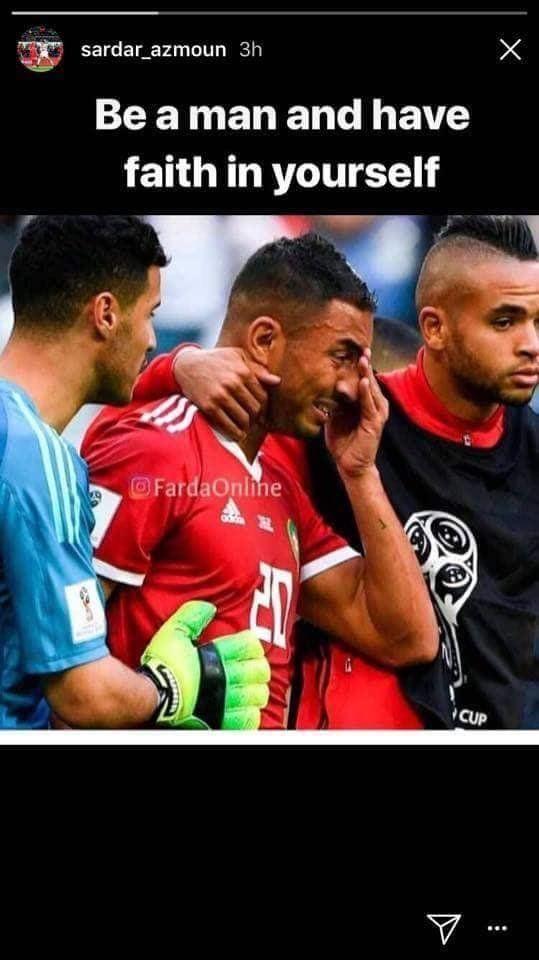 Les joueurs iraniens consolent Aziz Bouhaddouz sur les réseaux