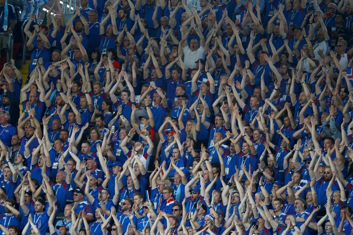 Iceland fans chant during the match at Spartak Stadium.