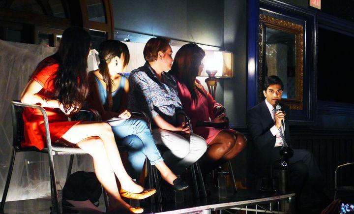 Suraj Patel (far left) speaks with activists Lola Balcon, Aya Tasaki Cecilia Gentili, and Ceyenne Doroshow on Saturday in Brooklyn.