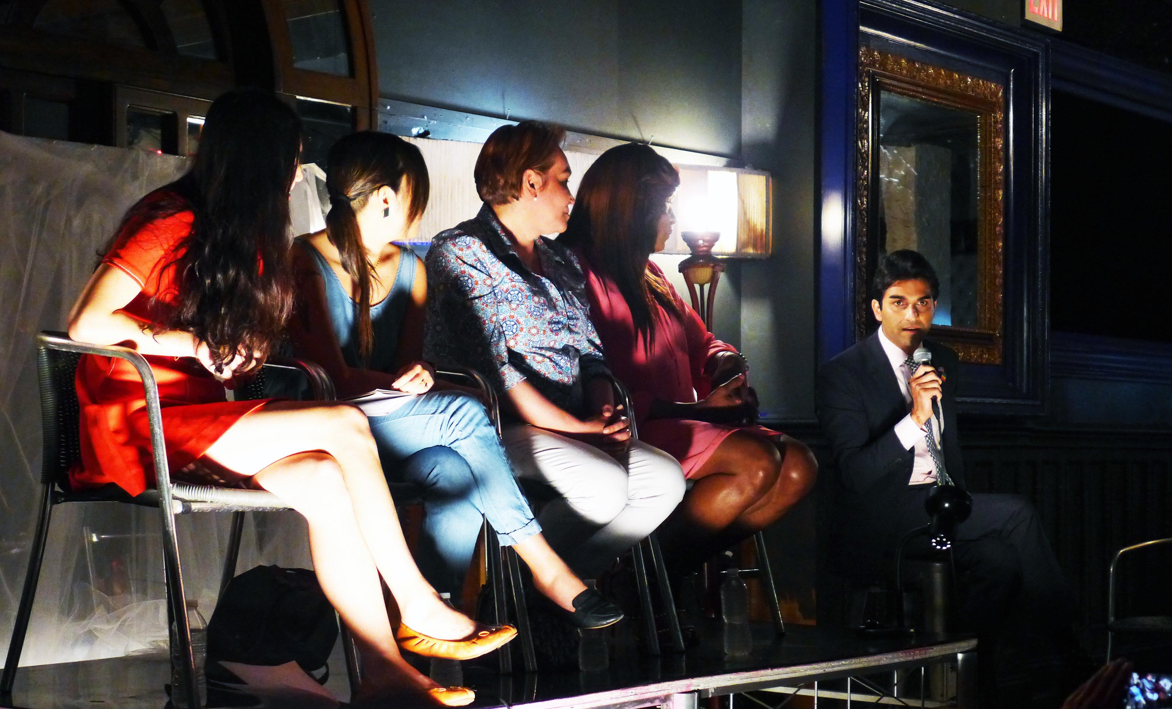 Suraj Patel (far left) speaks with activists Lola Balcon, Aya Tasaki Cecilia Gentili, and Ceyenne Doroshow on Saturday in Bro
