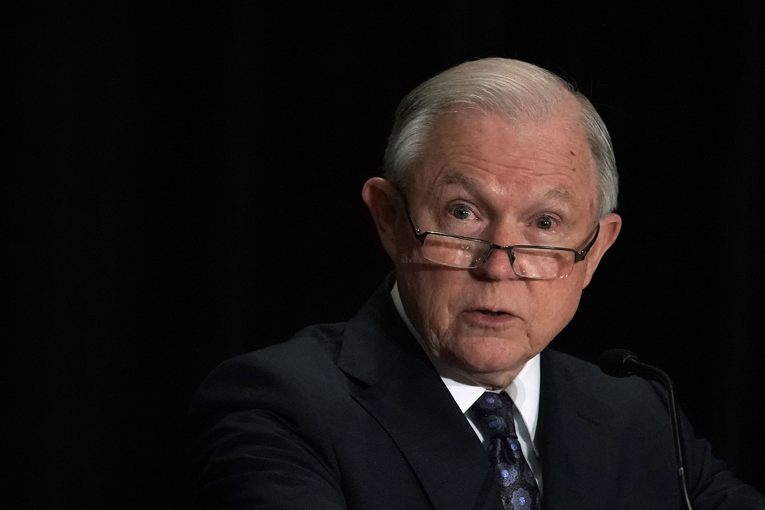 TYSONS, VA - JUNE 11:  U.S. Attorney General Jeff Sessions delivers remarks at the Justice Department's Executive Officer for Immigration Review (EOIR) Annual Legal Training Program June 11, 2018 at the Sheraton Tysons Hotel in Tysons, Virginia. Sessions spoke on his intention to limit reasons for people to claim asylum in the U.S.  (Photo by Alex Wong/Getty Images)